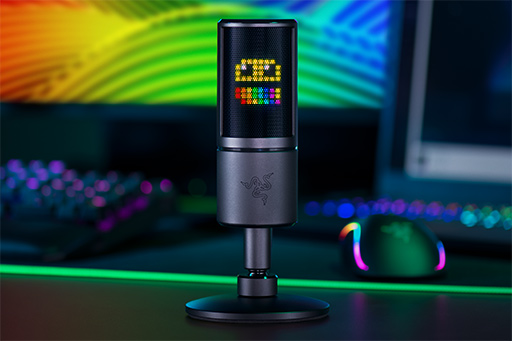 画像 (002) Razer , 背面 に 8 × 8 ド ッ ト の LED デ ィ ス プ レ イ を 備 え た 「魅 せ る」 マ イ ク 「Siren Emote」 を 発 表