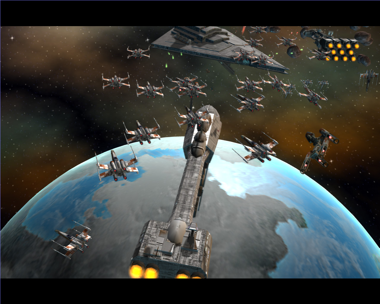 反乱同盟軍はXウィングやアサルト・スピーダーのような,機動力があって小型の兵器が中心。奇襲にも長けている