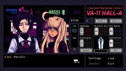 インディーズゲームの小部屋:Room#436「VA-11 Hall-A: Cyberpunk Bartender Action」