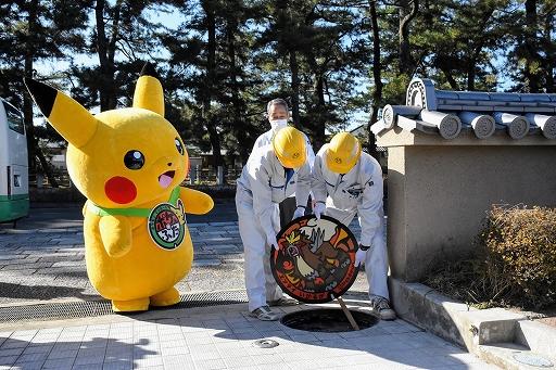"""画像集#003のサムネイル/奈良県に「ポケモン」デザインのマンホール蓋""""ポケふた""""が初登場。エンテイやドータクンなど5枚が斑鳩町に"""