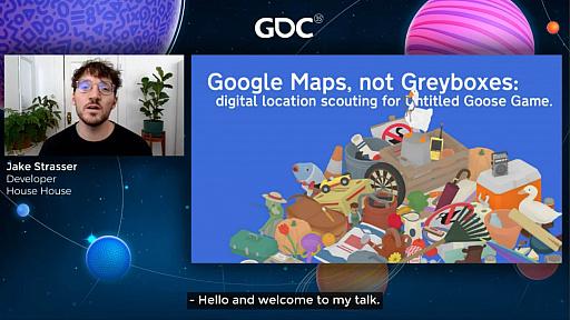 画像集#002のサムネイル/[GDC 2021]Google マップから作られた「Untitled Goose Game」のマップは,何を目指したのか